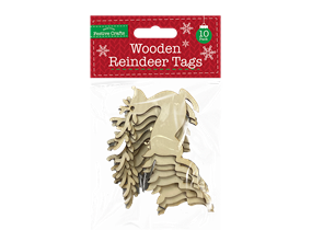 Wholesale Wooden Reindeer Tags 10 Pack | Gem Imports Ltd