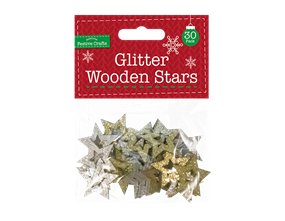 Wholesale Glitter Wooden Star Embellishments    Gem Imports Ltd