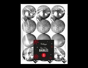 Wholesale Silver Baubles 3.5cm Dia 12 Pack   Gem Imports Ltd