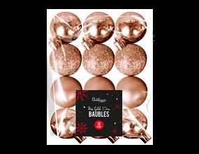 Wholesale Rose Gold Baubles 3.5cm Dia   Gem Imports Ltd