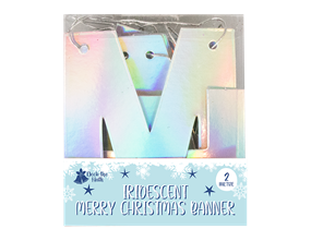 Wholesale Iridescent Merry Christmas Banner 2m | Gem Imports Ltd
