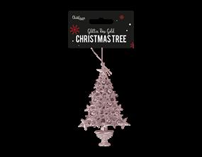 Wholesale Rose Gold Glittered Xmas Tree Decoration   Gem Imports Ltd