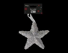 Silver Extra Large Jewelled Star Decoration | Gem Imports Ltd