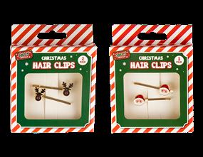 Wholesale Xmas Hair Clips 2 Pack | Gem Imports Ltd