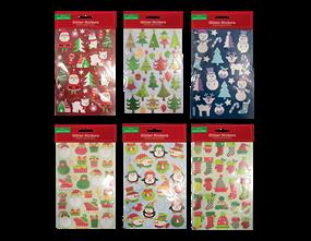 Wholesale Xmas Glitter Finish 3D Stickers | Gem Imports Ltd