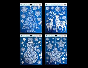 Wholesale Xmas White Glitter Window Stickers | Gem Imports Ltd