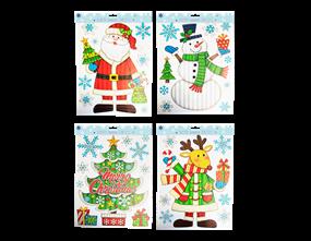 Wholesale Xmas Figures Glitter Finish Window Stickers | Gem Imports Ltd
