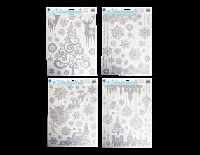 Wholesale Xmas Silver Glitter Window Stickers | Gem Imports Ltd