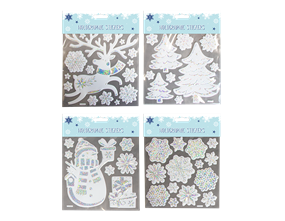 Wholesale Xmas Silver Holographic Wall Stickers | Gem Imports Ltd