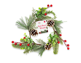 Wholesale Pine Cone / Red Berry Wreath 25cm | Gem Imports Ltd