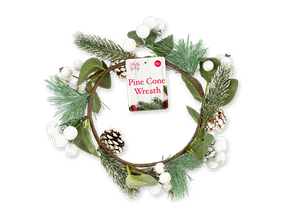 Wholesale Pine Cone / Mistletoe Wreath 25cm | Gem Imports Ltd