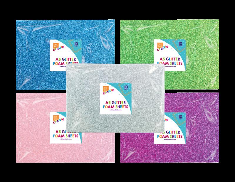 A5 Glittered Foam Sheets - 10 Pack