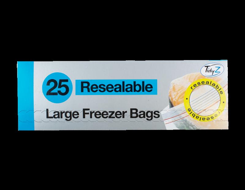 Resealable Food & Freezer Bags - 25 Pack