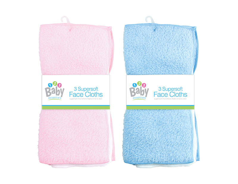 Baby Face Cloths - 3 Pack