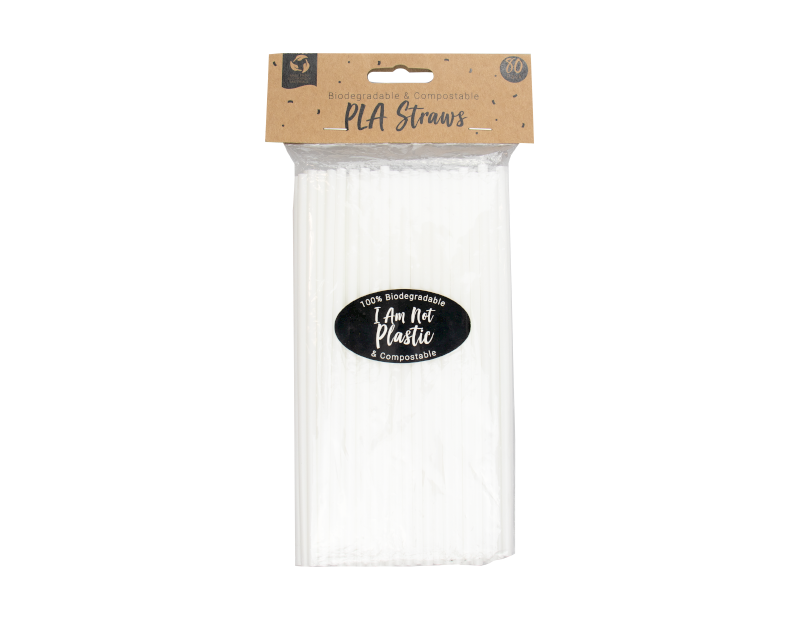 Biodegradable PLA Straws - 80 Pack