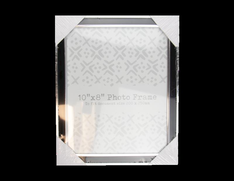 "Black & Silver Photo Frame 10"" x 8"""