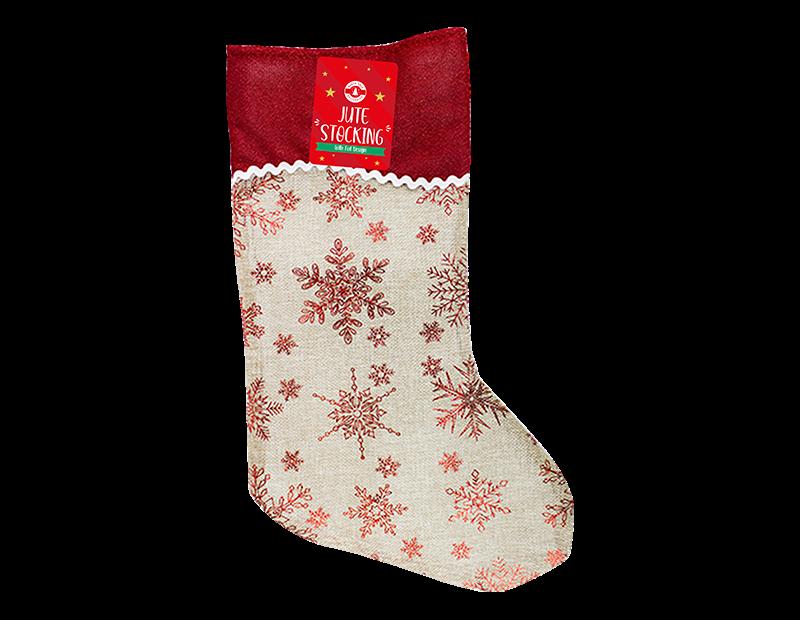 Christmas Jute Foil Printed Stocking 20cm x 48cm