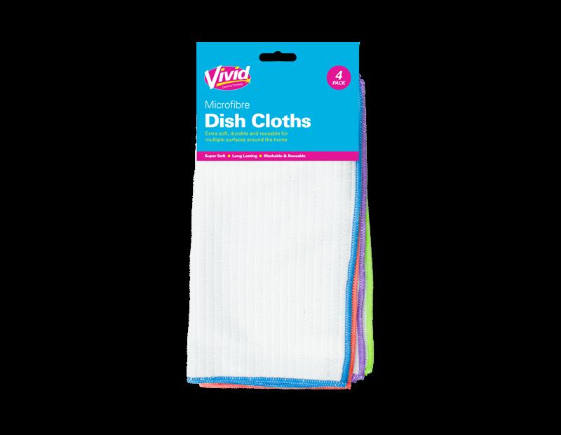 Microfibre Dish Cloths - 4 Pack
