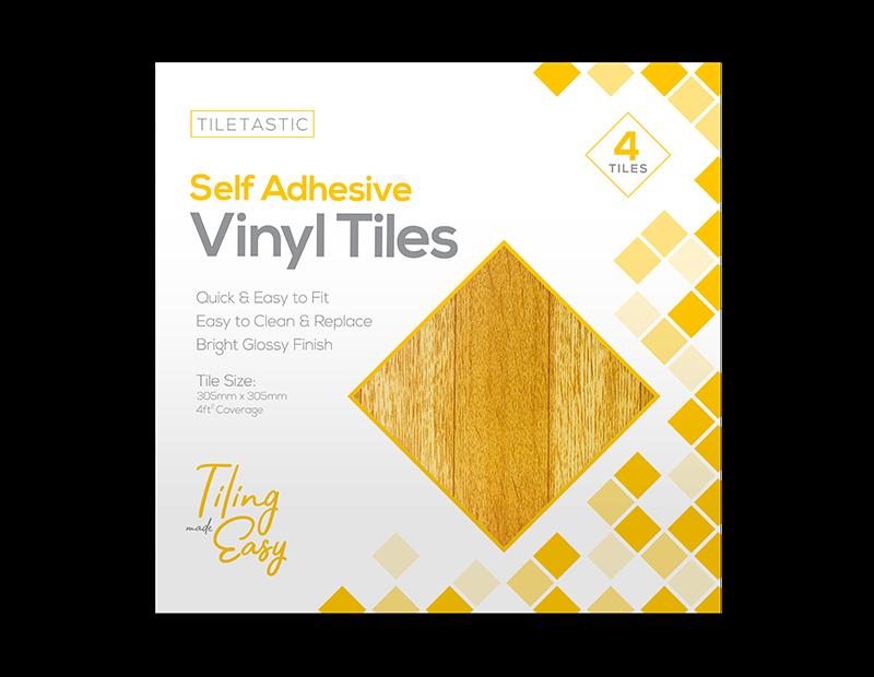 Dark Wood Self Adhesive Tiles - 4 Pack