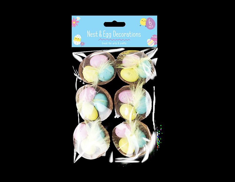 Easter Egg Nest Decorations - 6 Pack