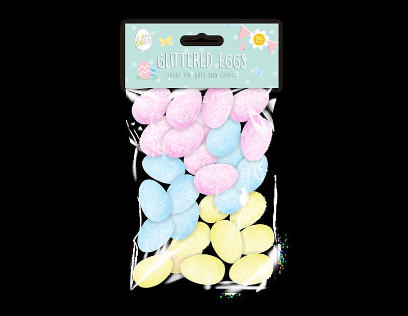 Easter Decorative Glitter Eggs - 30 Pack