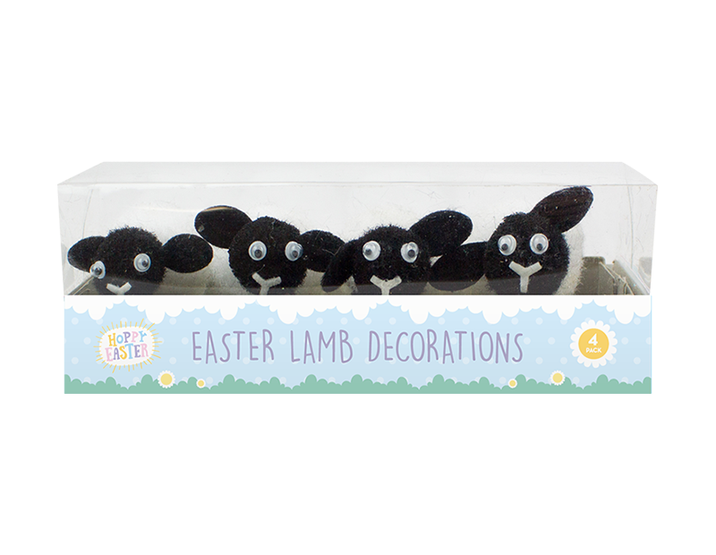 Easter Lamb Decorations - 4 Pack (With PDQ)