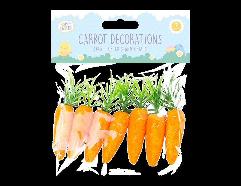 Easter Bonnet Carrot Decorations - 7 Pack