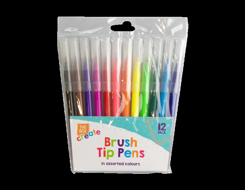 Fibre Tip Brush Pens - 12 Pack