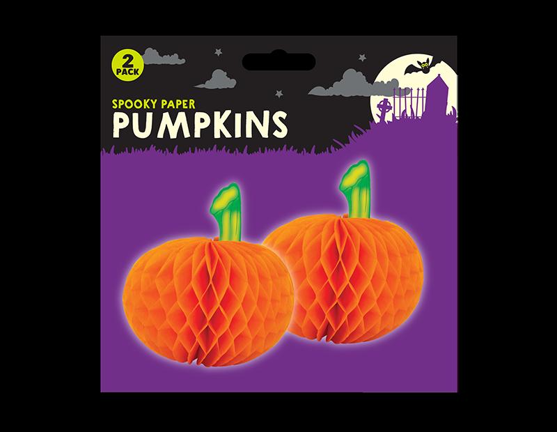 Halloween 3D Pumpkin Decorations - 2 Pack
