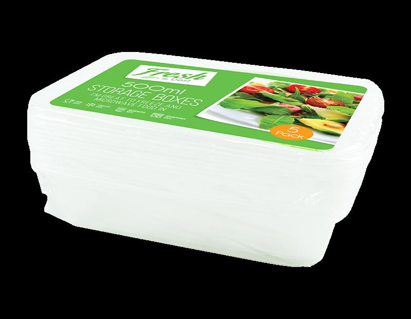 Food Storage Boxes 500ml - 5 Pack