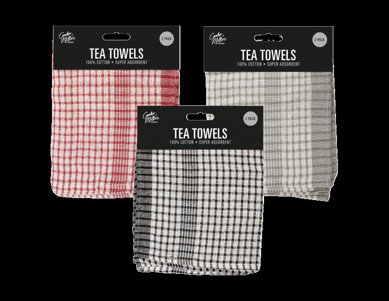 Mono Check Tea Towel - 2 Pack