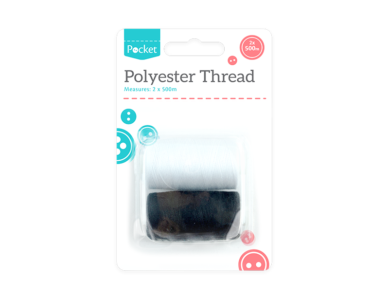 Polyester Thread 500m - 2 Pack