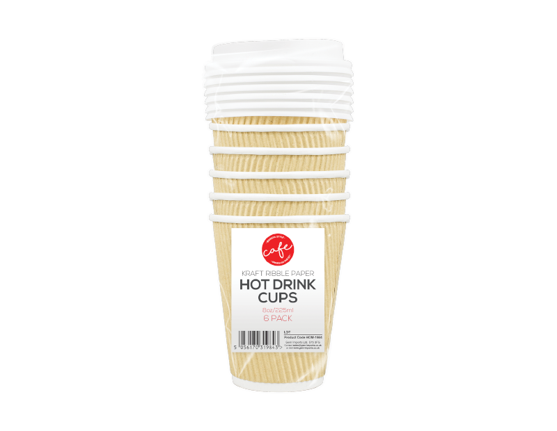 Disposable Hot Drinks Cups 8oz - 6 Pack