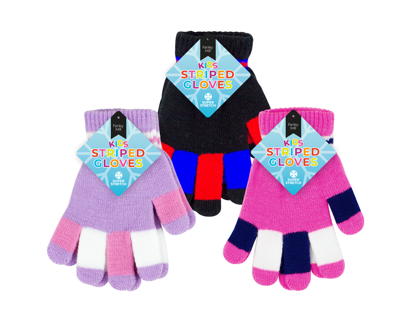 Kids Striped Magic Gloves