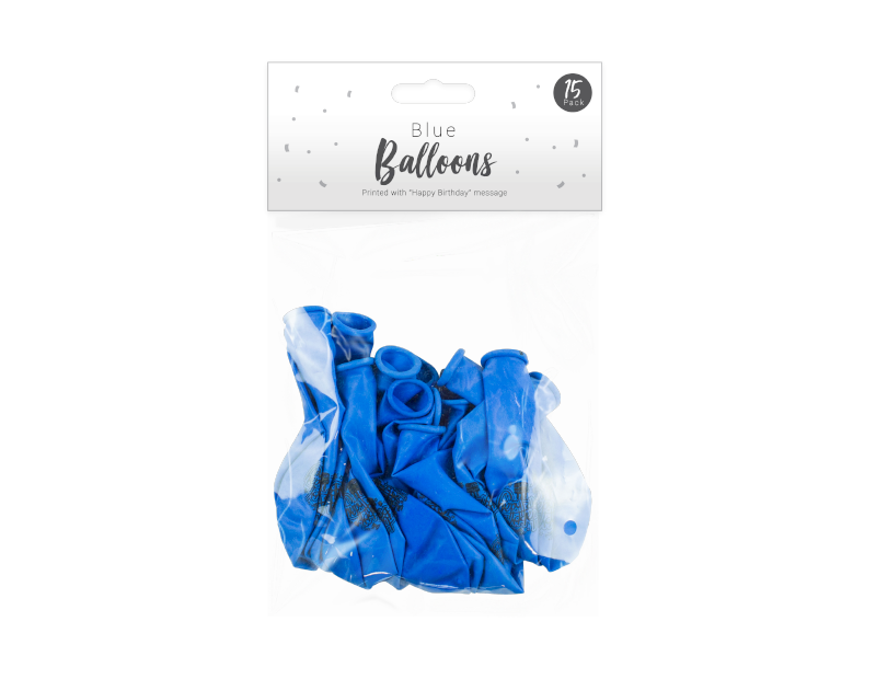 Blue Happy Birthday Balloons - 15 Pack