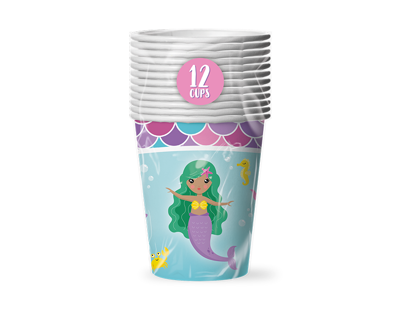 Mermaid Disposable Paper Cups - 12 Pack