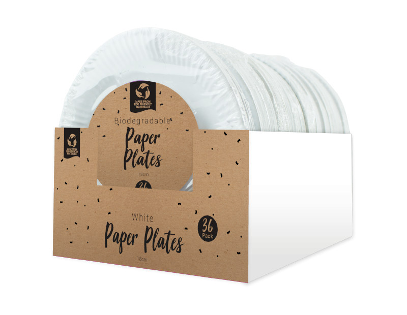 Disposable White Paper Plates 18cm - 36 Pack (With PDQ)