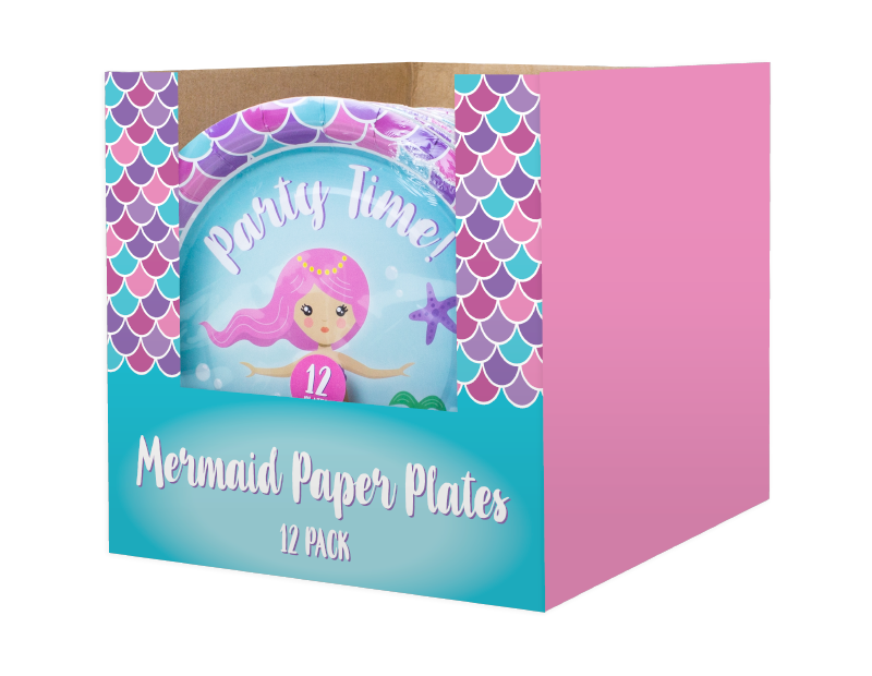 Mermaid Disposable Paper Plates 23cm - 12 Pack