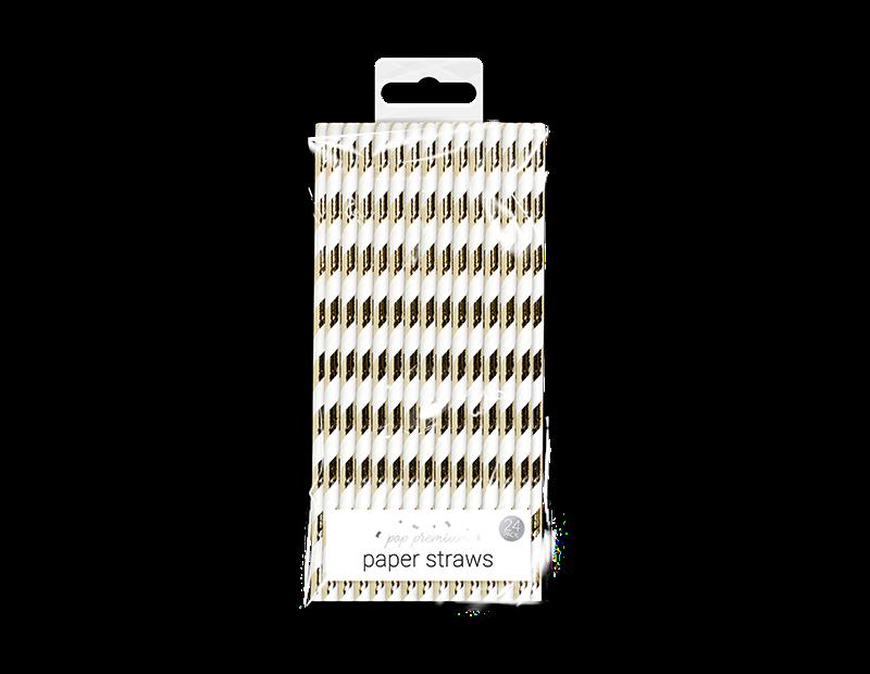 Metallic Paper Straws – 24 Pack