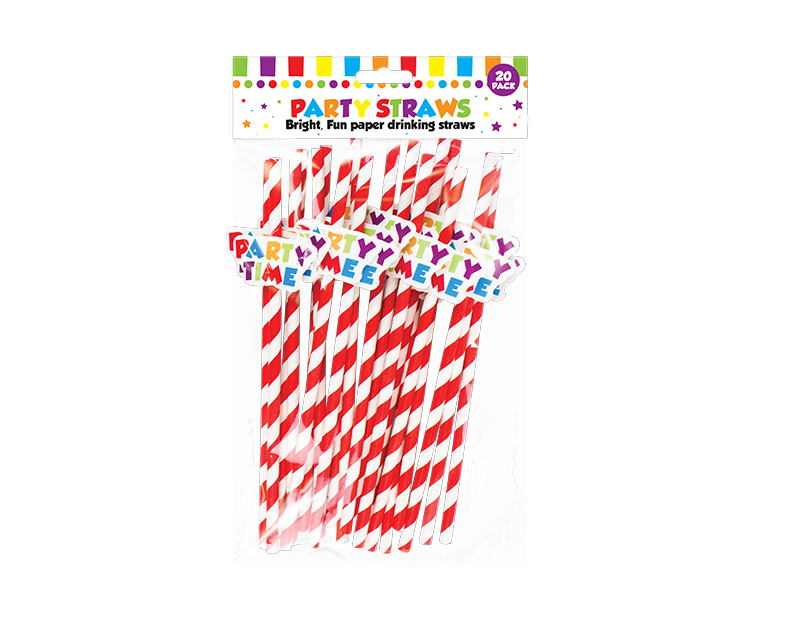 Party Novelty Paper Straws - 20 Pack