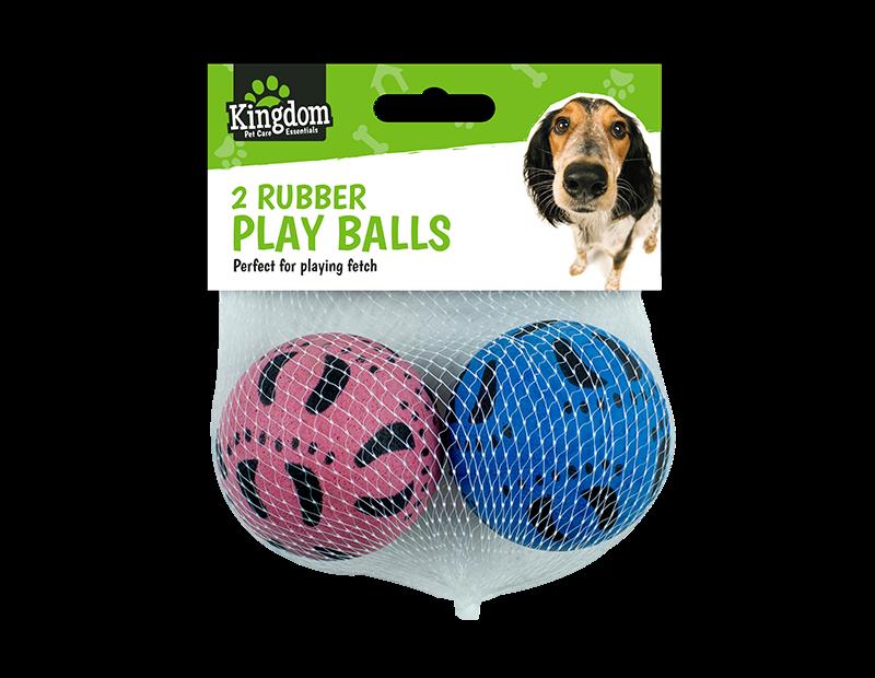 Pet Rubber Play Balls - 2 Pack