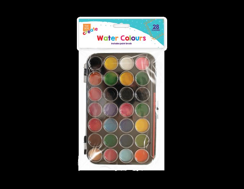 Water Colour Pallete & Brush - 28 Colours