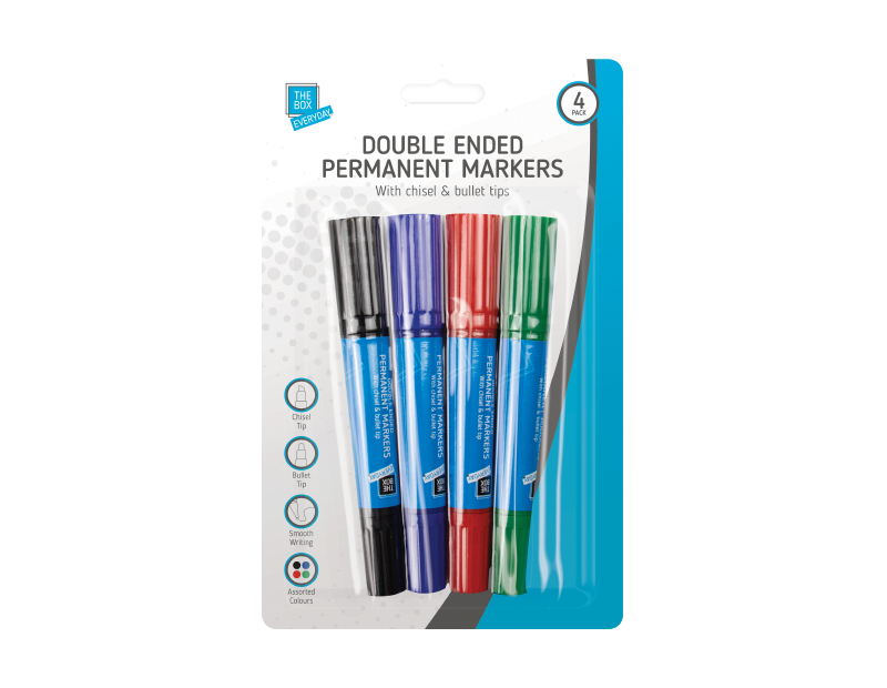 Double Ended Permanent Markers - 4 Pack