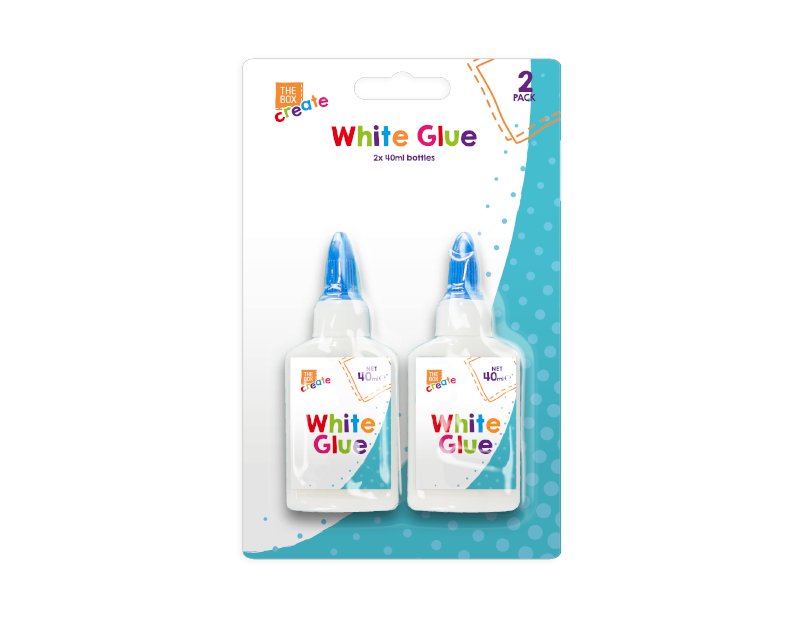 White PVA Glue 40ml - 2 Pack