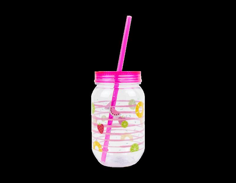 Mason Drinking Jar & Straw 500ml