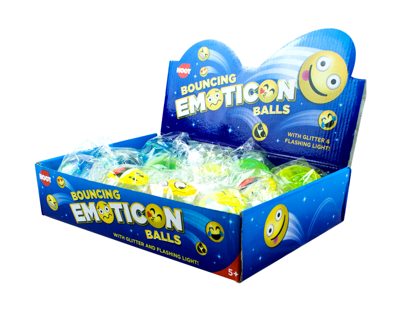 Emoticon Bouncing Glitter Balls With PDQ